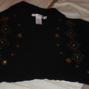 Misomiso Black, Sequined, Large Sweater Bolero